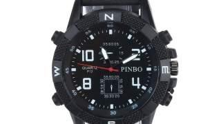 Pinbo Crni Military Kožni Analog Muški Sport Sat Watch
